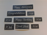 Special occasion etching words & number stencils for glass (mixed)  Congratulations  Happy Birthday  Anniversary  18th  30th 70th